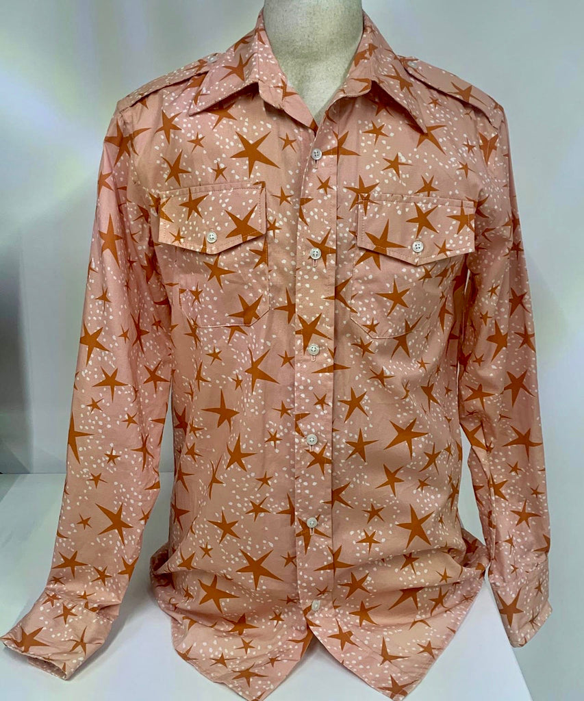 Men's Salmon Stars Button-Down Shirt