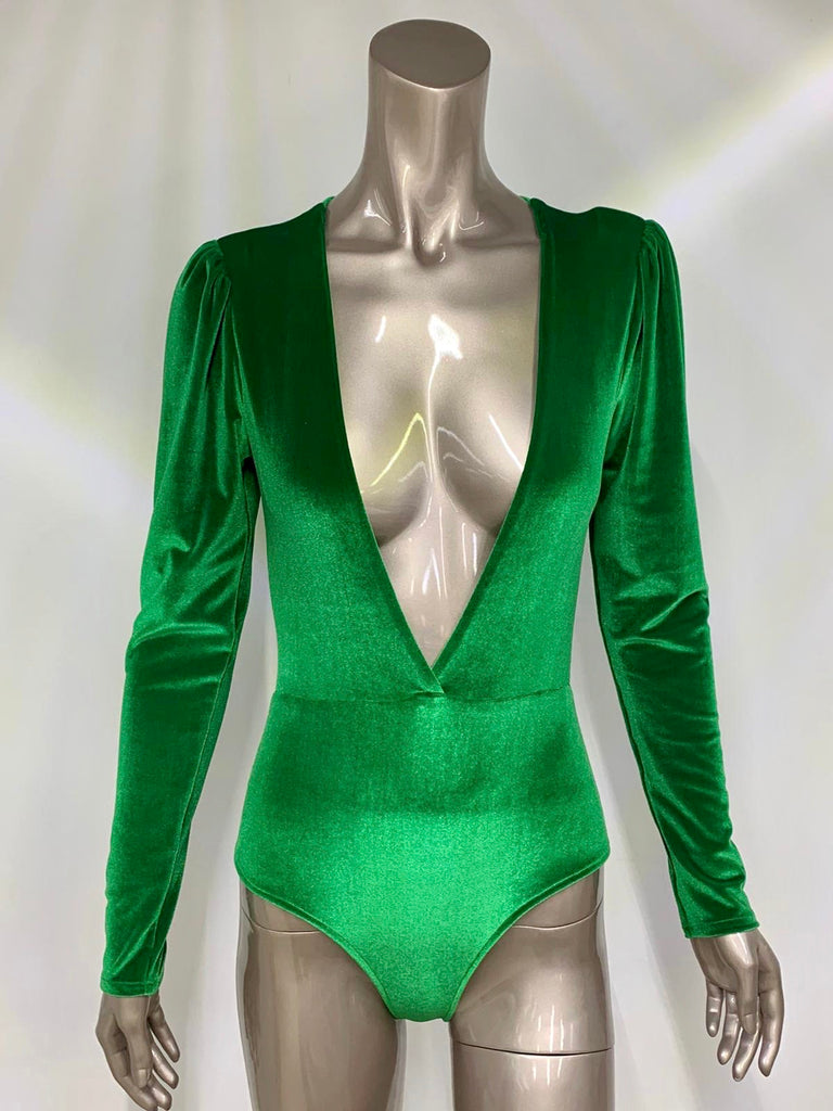 Emerald Green Velour Bodysuit