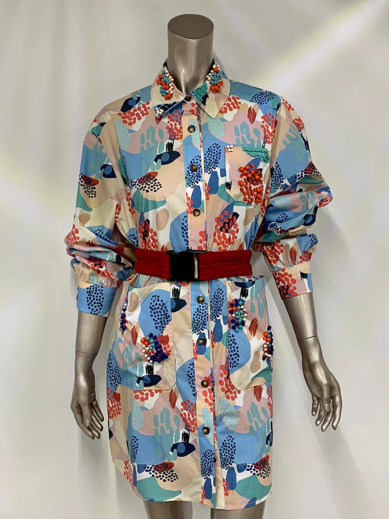Multi Print Beaded Collar and Pockets Shirt Dress
