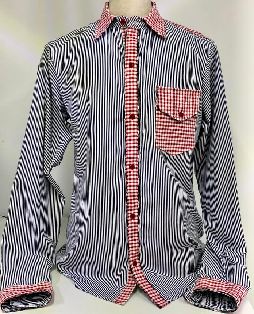 Men's Stripes/Gingham Button-Down Shirt
