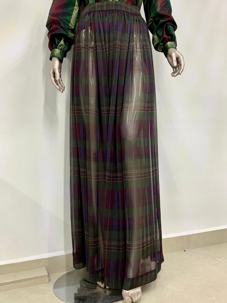 Sheer Deep Purple Chiffon Plaid Maxi Skirt