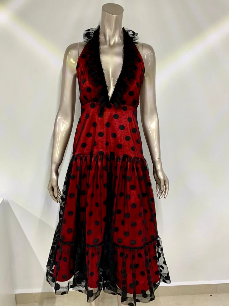 Red/Black Lace Polka Dots Midi Dress