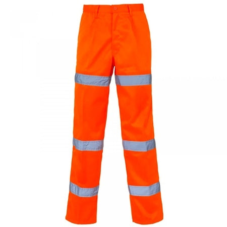Hi Vis 3 Band Polycotton Orange Trousers - StepAhead Workwear