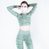 Step Ahead Camo Seamless Two Piece Fitness Green Set