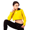 Step Ahead Pullover Crop Yellow Sweatshirt