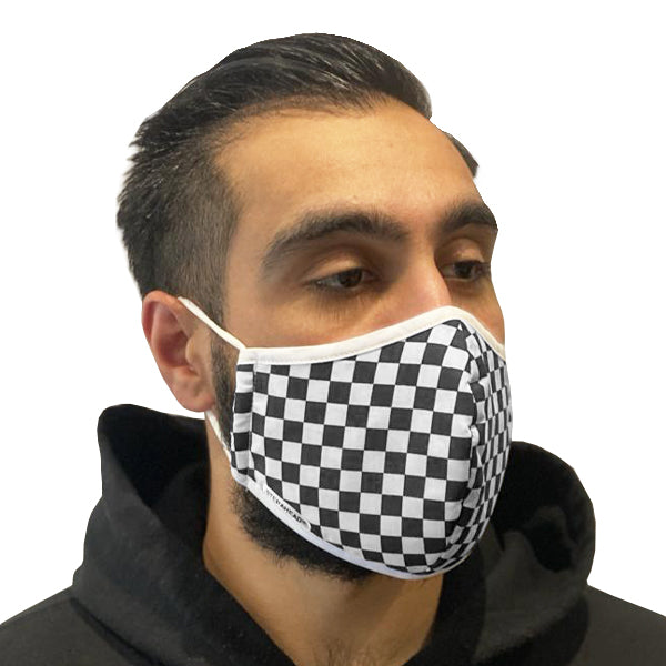Step Ahead Reusable Black Checkered Face Mask