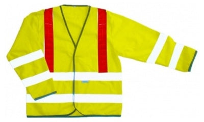 Hi Vis Waistcoat Long Sleeved With Reflective Tape Over Shoulders With Front Zip (Grantham)