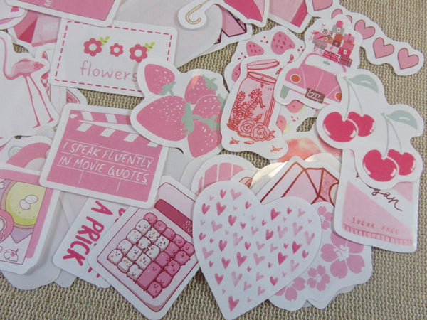 étiquettes autocollant fruit girly scrapbooking - stickers papier autocollant pour décoration / 47pcs - ArtKen6L