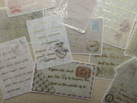 Stickers carte postale vintage lettre ancienne rétro scrapbooking - Papier rectangle autocollant pour décoration