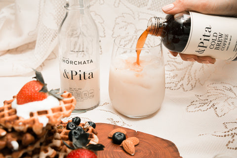 Wafflles & horchata cold. brew coffee