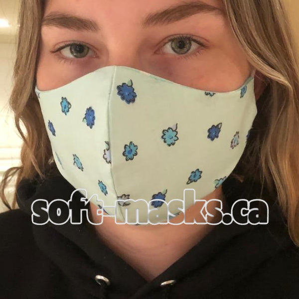 blue posies soft cotton fabric face mask