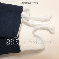 navy blue soft cotton fabric face mask
