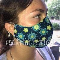 navy green floral soft cotton fabric face mask