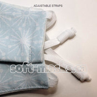 pale blue starbursts soft cotton fabric face mask