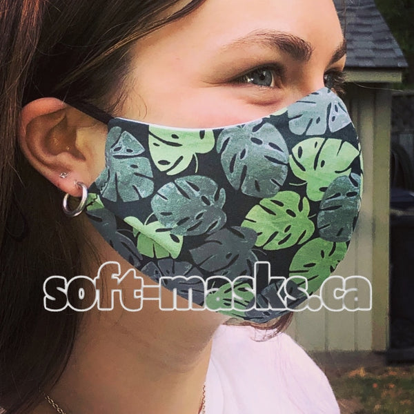Palm Leaves On Dark Green Mask