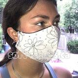 pen and ink black flowers soft cotton fabric face mask