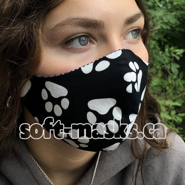 Pets - Black With White Paw Prints Mask