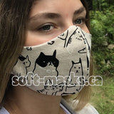 Pets - Earnest Cats On Cotton Canvas Mask