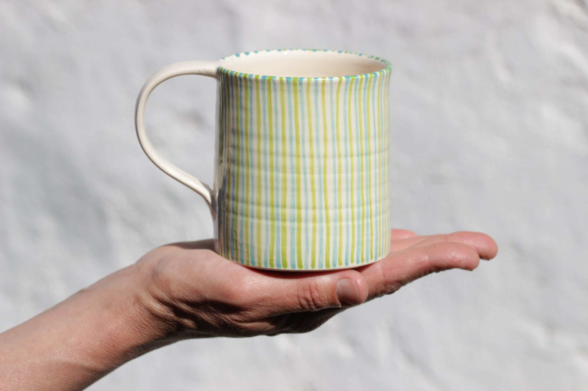 Large Cup, Green & Blue Stripes