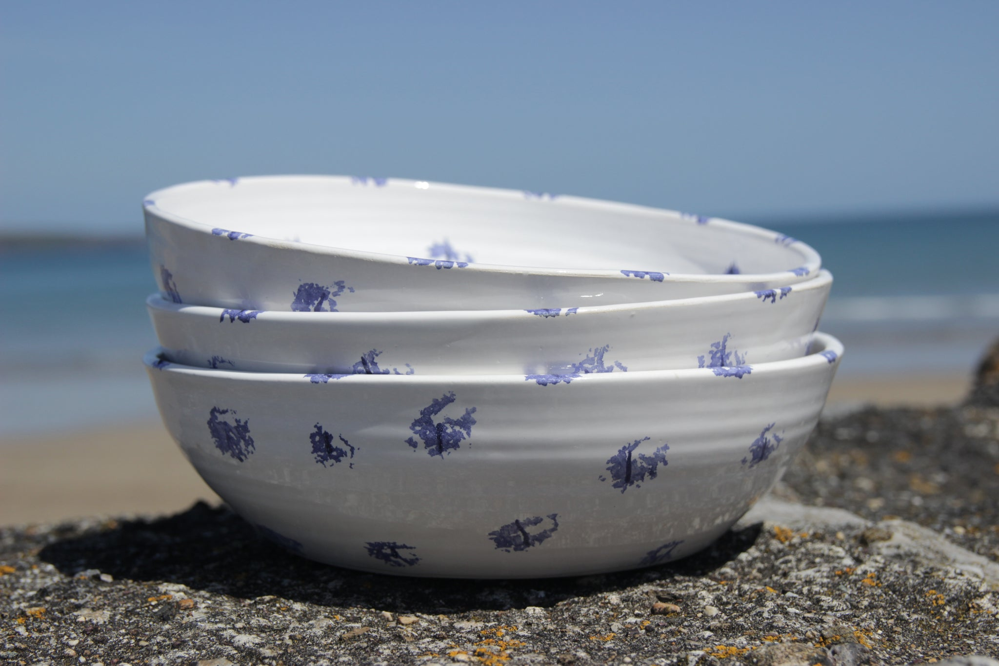 Pasta Bowl, Traditional Blue Sponged