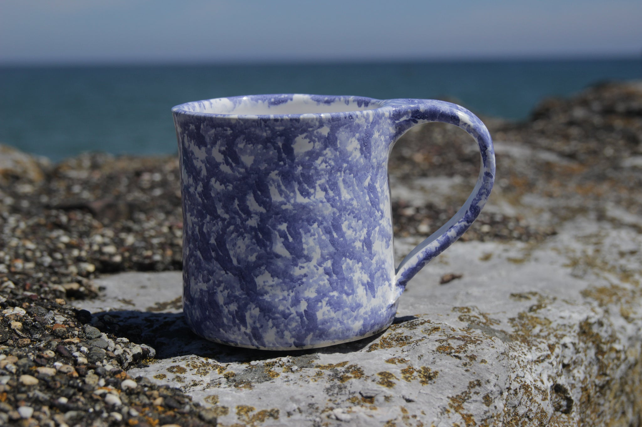Large Cup, Dark Blue Sponged