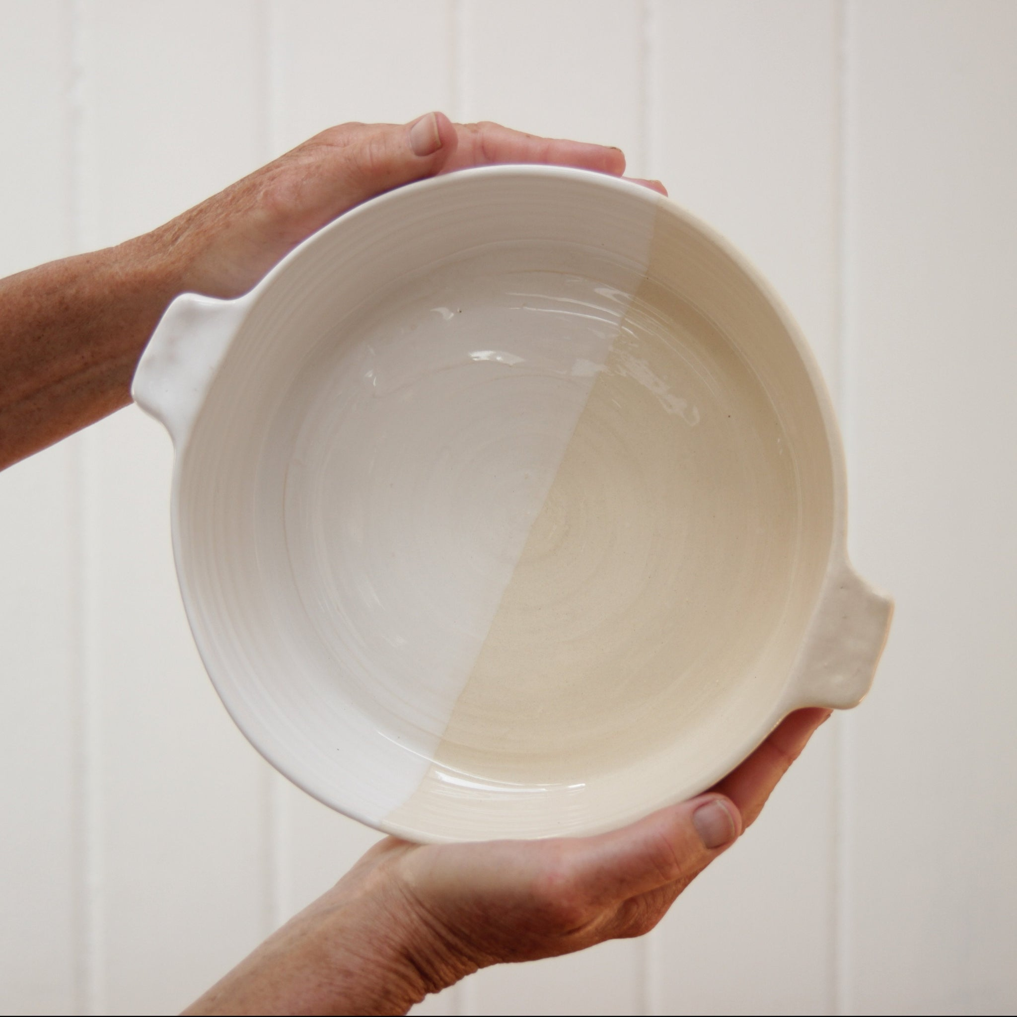 Serving Dish, Two Tone White, Inconsistent Machine