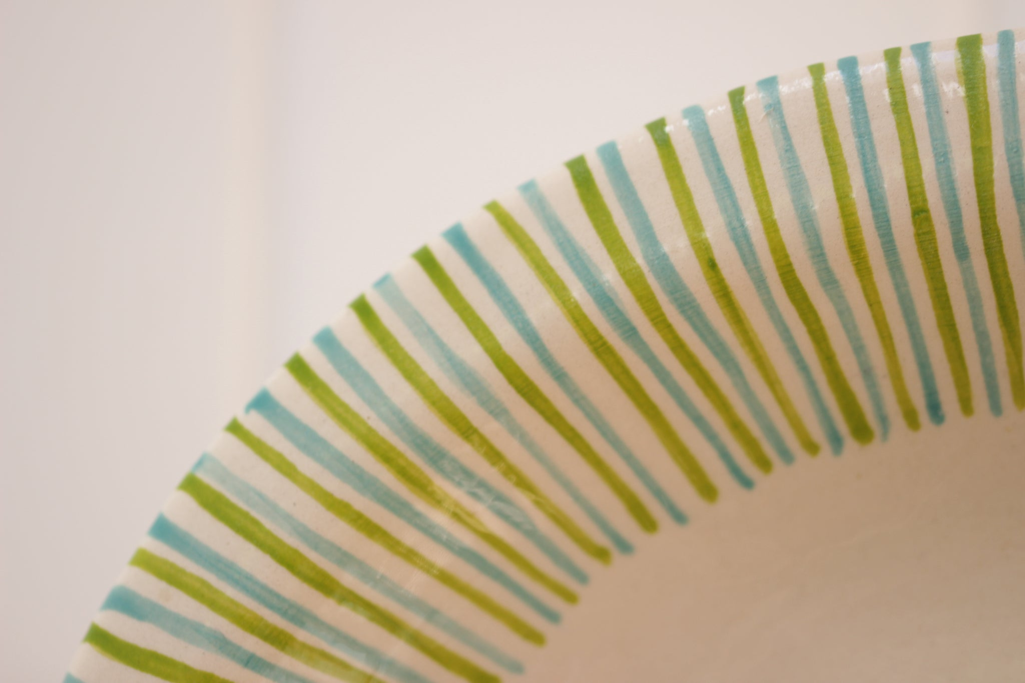 Oval Dish, Green & Blue Stripes