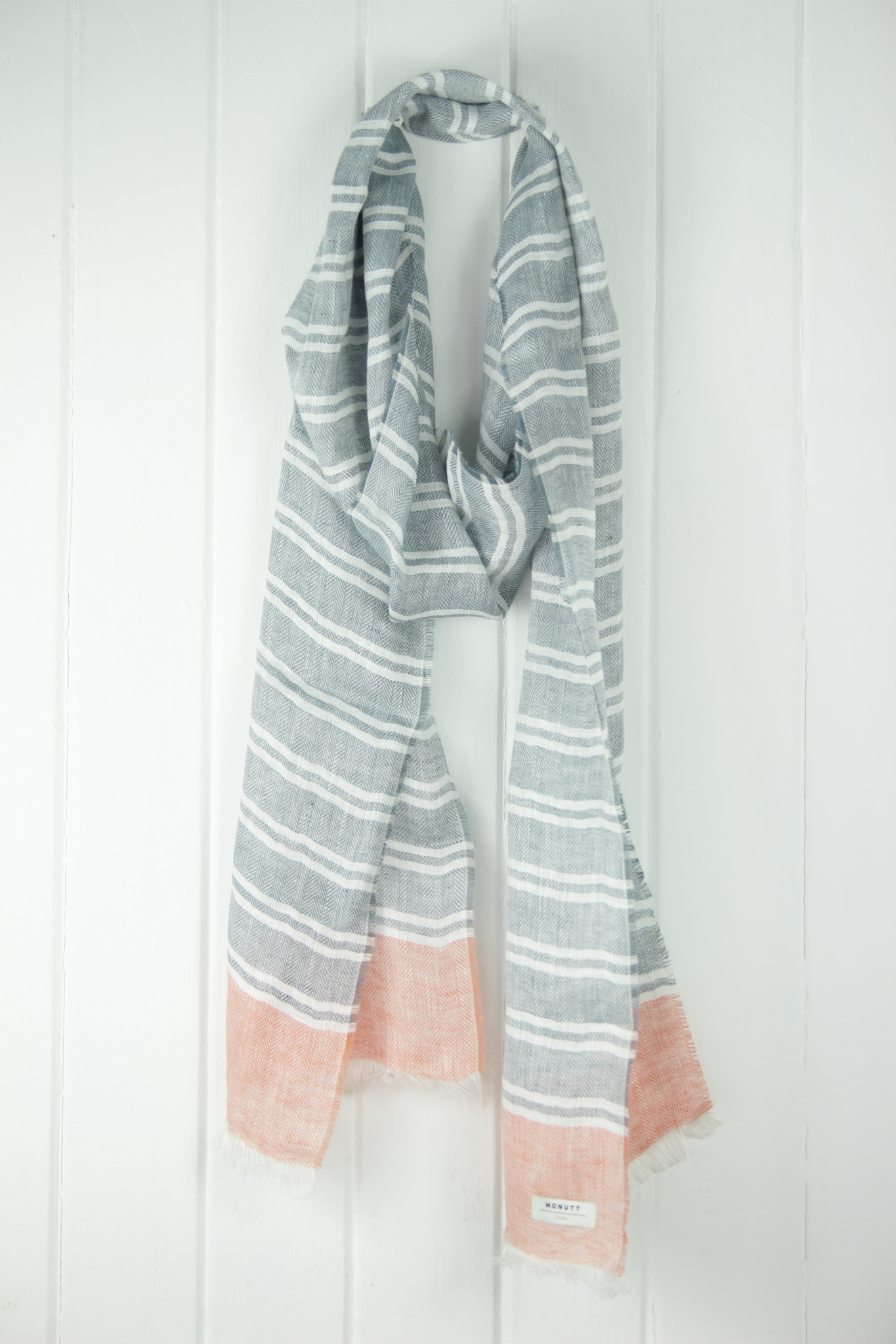 Linen Scarf, Nautical Grey & Coral, McNutt