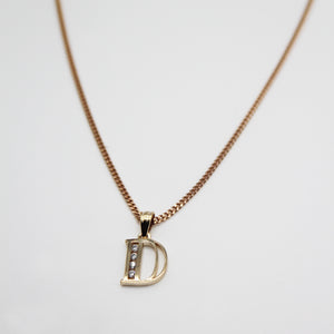 9k GOLD channel set initial pendant