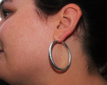 Load image into Gallery viewer, SILVER large tube hoop earrings