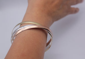 9k GOLD Three colour Russian bangle