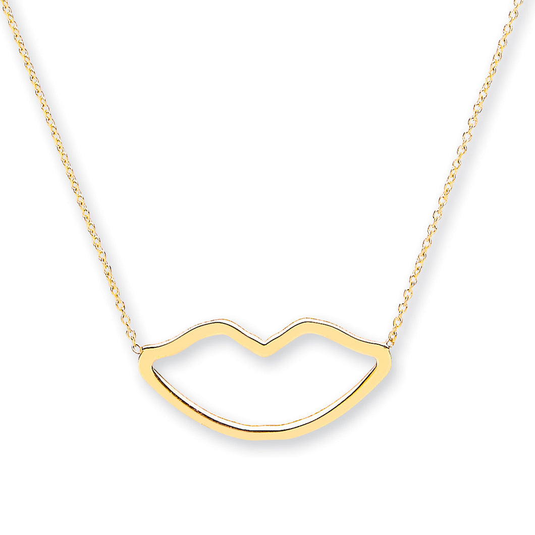9k GOLD lips necklace