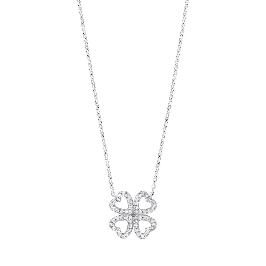 DIAMOND four leaf clover necklace