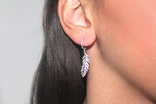 Load image into Gallery viewer, DIAMOND feather drop earrings