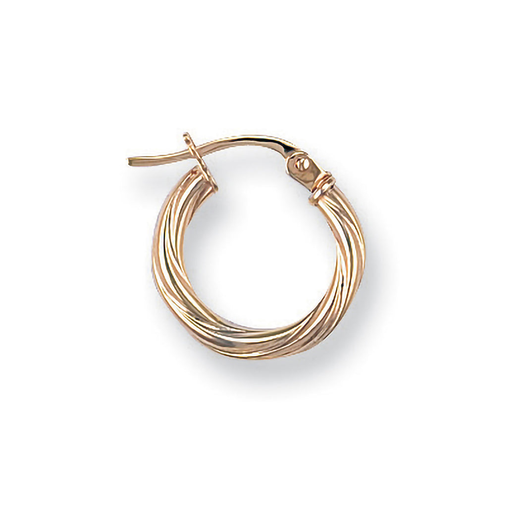 9k GOLD mini twisted hoop earrings