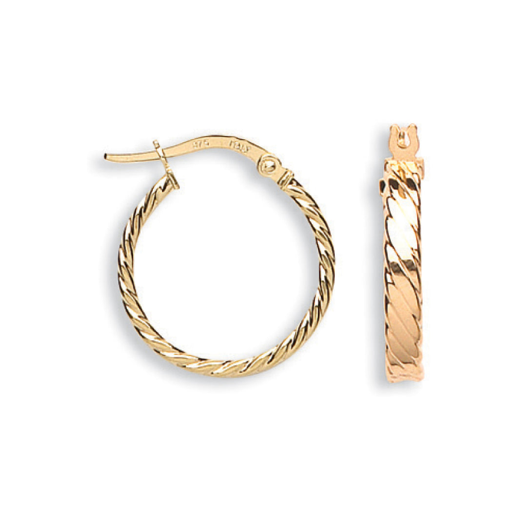 9k GOLD twisted hoop earrings