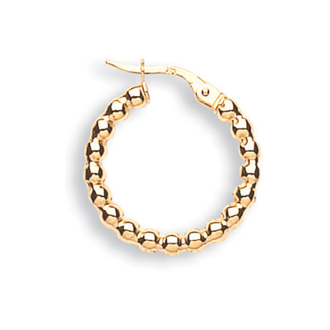 9k GOLD beaded popcorn hoop earrings