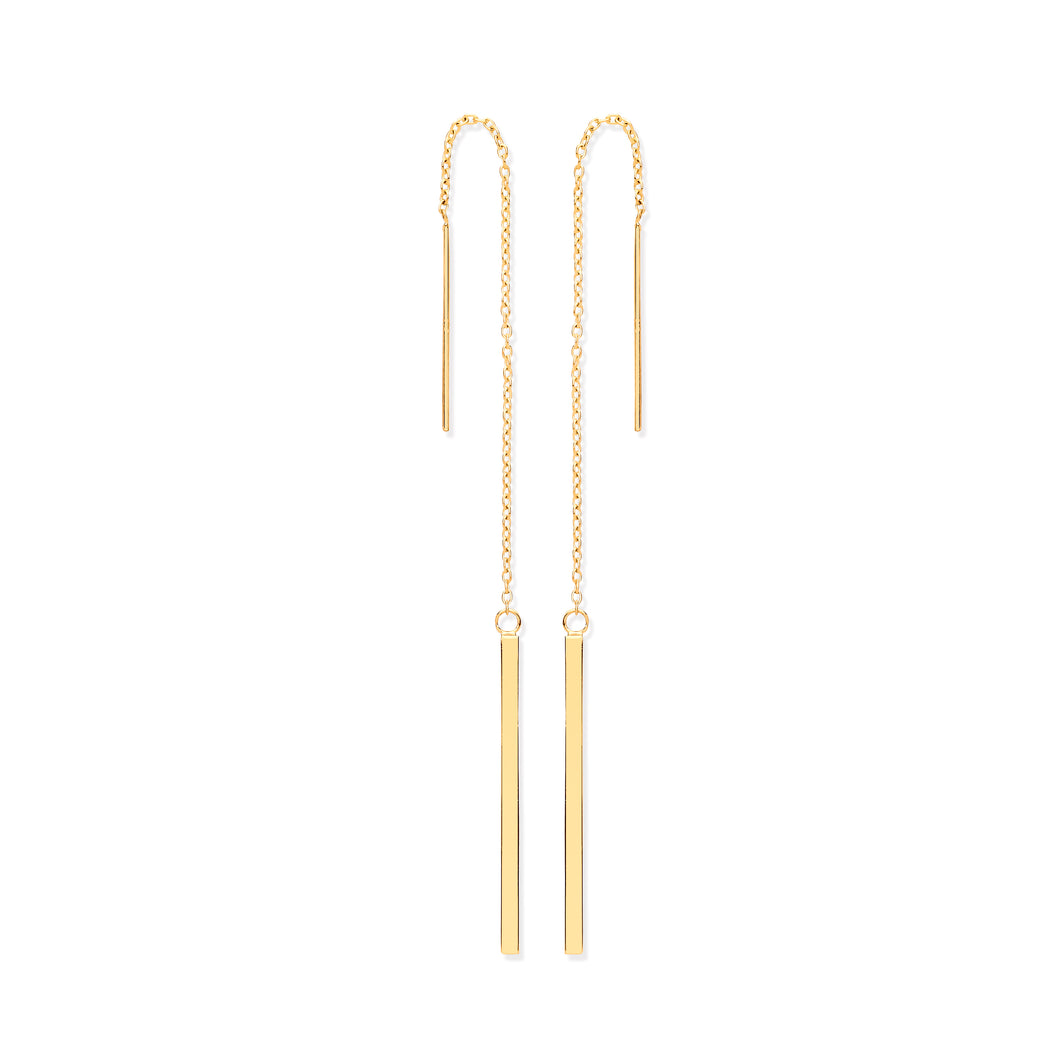 9k GOLD chain drop threader earrings