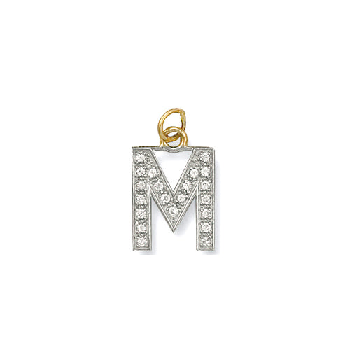 9k GOLD cz studded initial pendant–medium