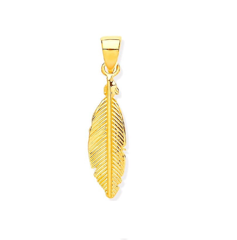 9k GOLD feather pendant
