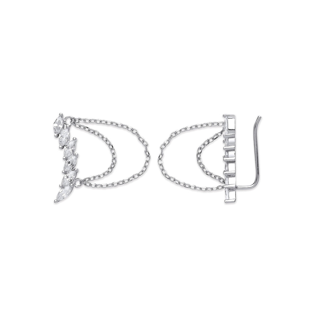 SILVER arc-shaped ear hook earrings