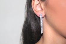 Load image into Gallery viewer, SILVER cuban chain drop earrings