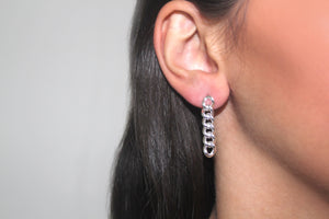 SILVER cuban link drop earrings