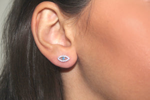 SILVER evil eye stud earrings