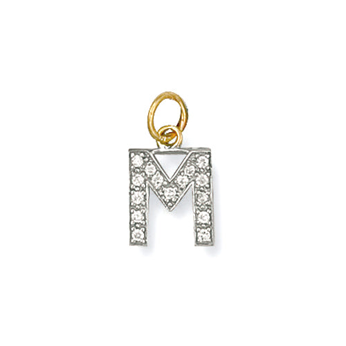 9k GOLD cz studded initial pendant–small