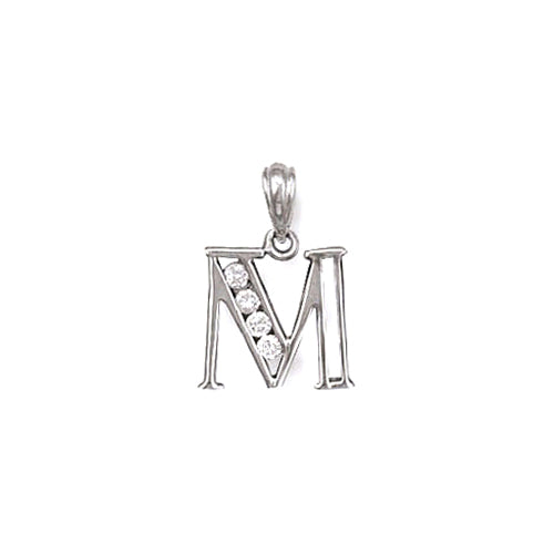 SILVER channel Set Initial Pendant