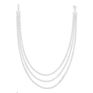 SILVER layered cuban chain