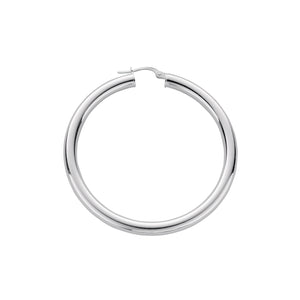 SILVER large tube hoop earrings