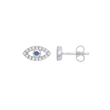 Load image into Gallery viewer, SILVER evil eye stud earrings