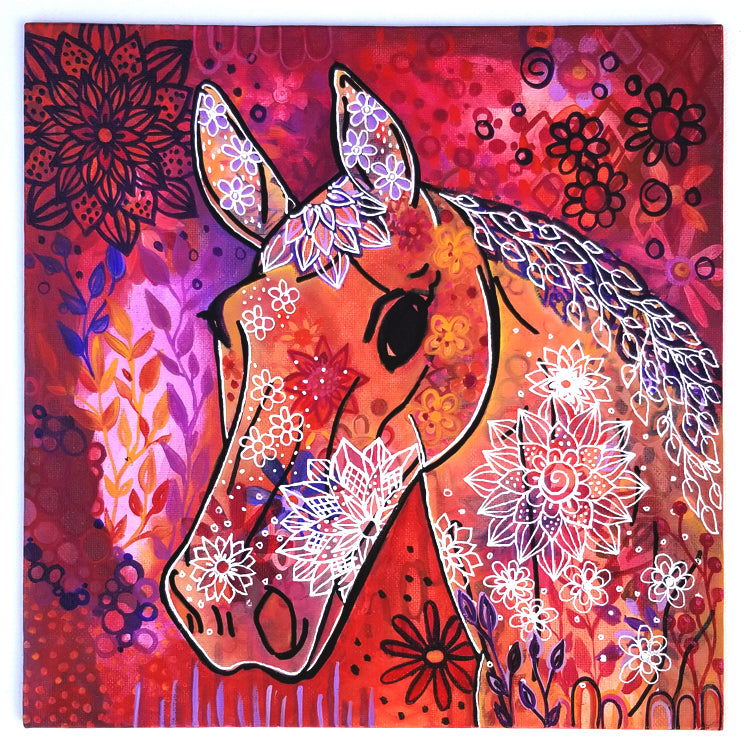 "Whimsical Horse - 10""x10"" Original Painting on Flat Canvas"
